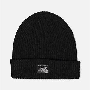 Cotton On Men's Women's Basic Ribbed Black Beanie